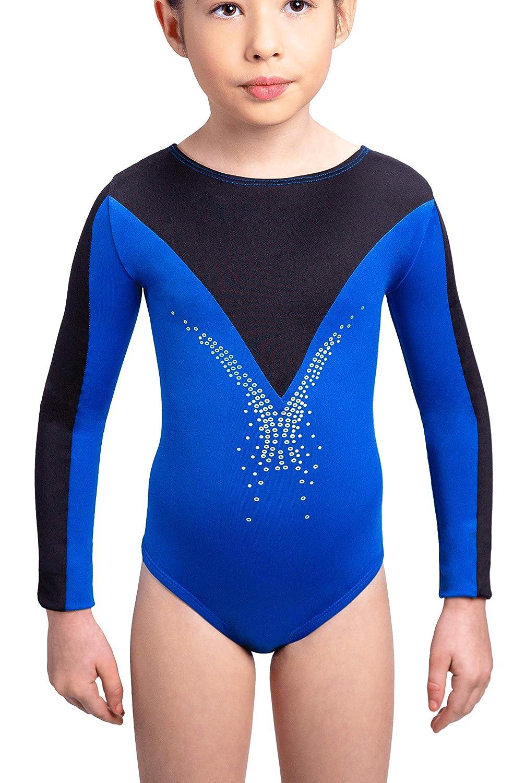 Leotard en Bleu et Noir pour la Gymnastique Danse Enfant 5-14 Ans Siegertreppchen Justaucorps de Gymnastique Fleurie Fille Manches Longues