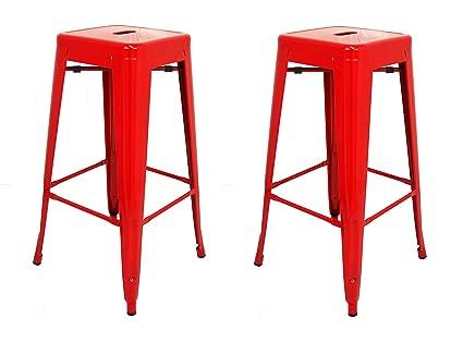 La sedia spagnola tólix pack di sgabelli acciaio inox rosso