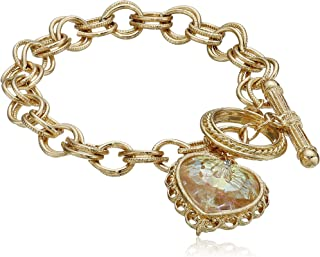 product image for 1928 Jewelry Gold-Tone Pendant Made with A Heart-Shaped Swarovski Crystal Pendant Bracelet