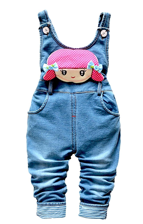 Kidscool Baby & Little Girls Cotton Denim Cute Overalls Soft to Wear Pants