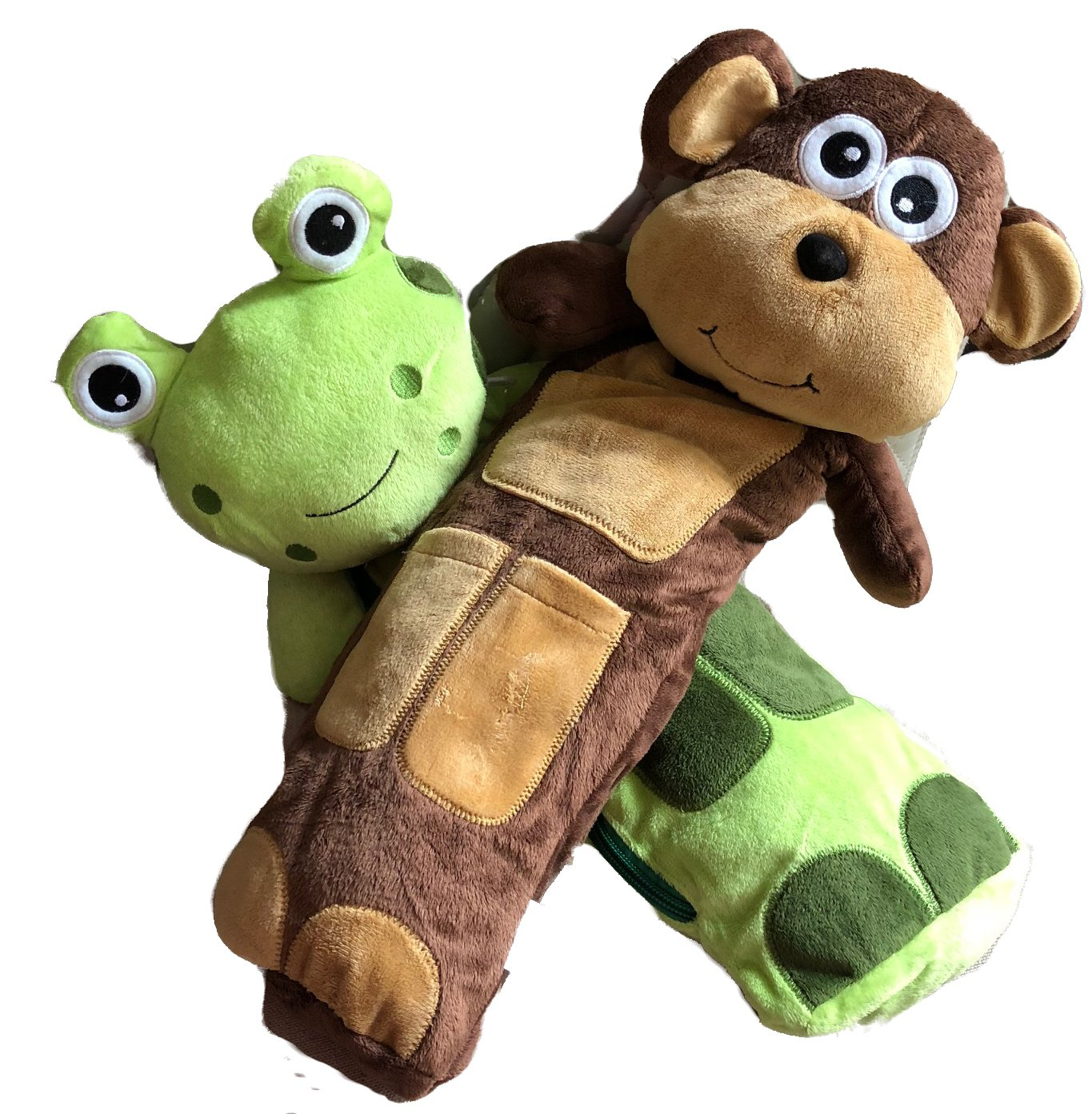 Bundle with Travel Best Friends Brown Monkey & Green Froggie Seat Belt Covers (2 Items)