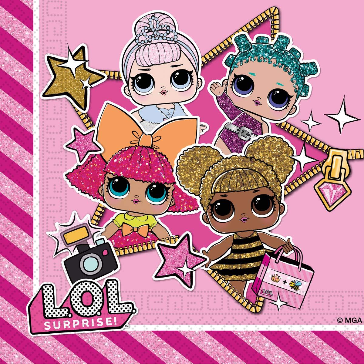 Gabiano- LOL Surprise Pack20 servilleta Papel 30c m, Color Rosa (76987)