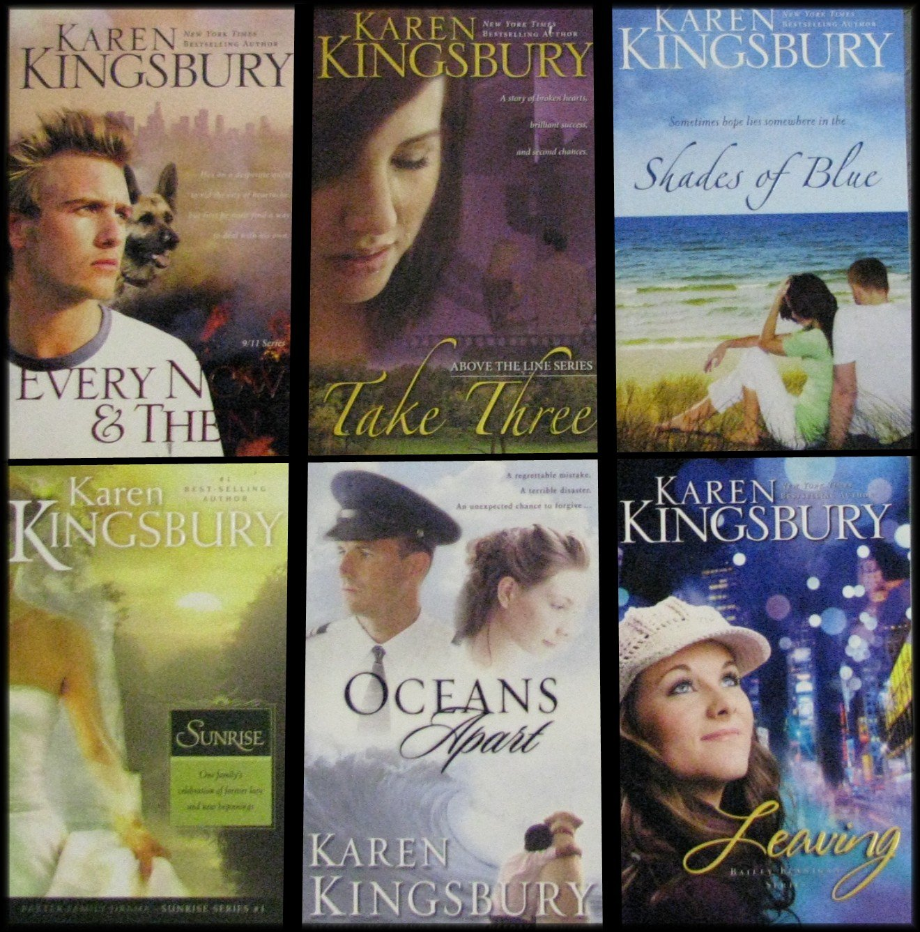 Karen Kingsbury 6 Book Collection: Every Now and Then / Take Three / Shades  of Blue / Sunrise / Oceans Apart / Leaving: Amazon.com: Books