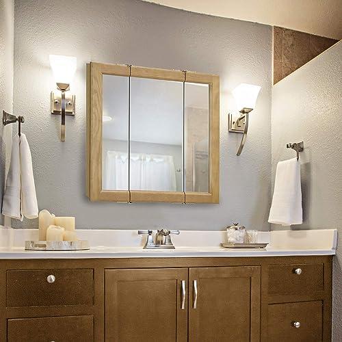 Design House 545277 Claremont Tri-View Solid Wood Mirrored Medicine Cabinet, Honey Oak, 24 W x 24 H