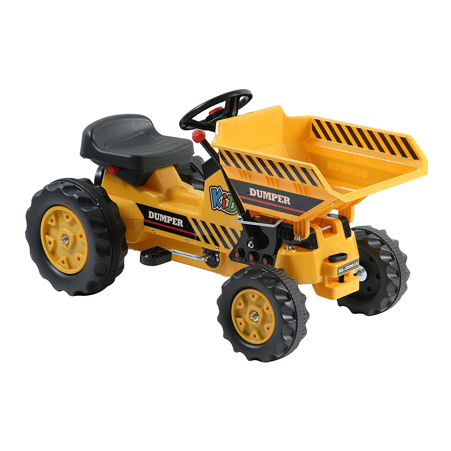 amazoncom dexton pedal tractor with dumper yellow toys  games -