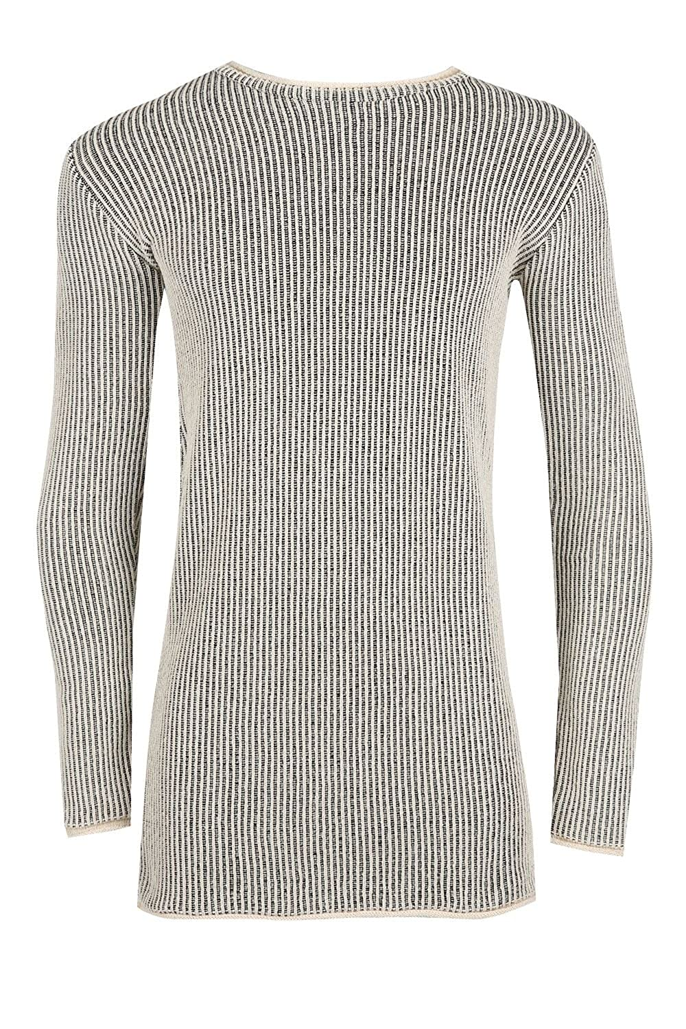 Fashion Star Mens Long Sleeve Longline Crew Neck Chunky Contrast Ribbed Knitted Pullover Jumper Top