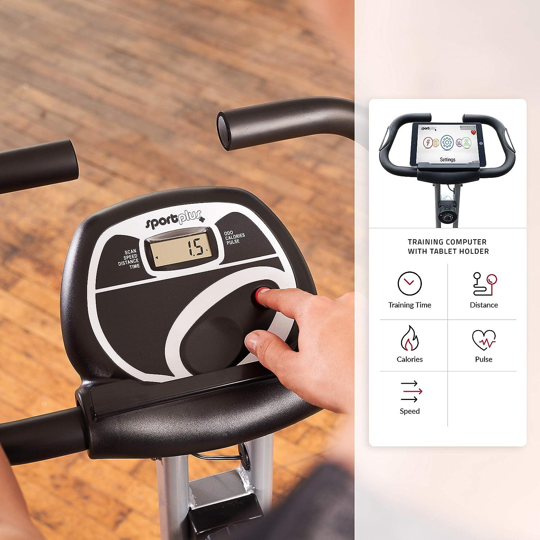 24 Widerstandsstufen faltbares X-Bike Sicherheit gepr/üft Google Street View Handpulssensoren Komfortsattel SportPlus klappbarer Hometrainer mit App-Steuerung Handgriffe R/ückenlehne