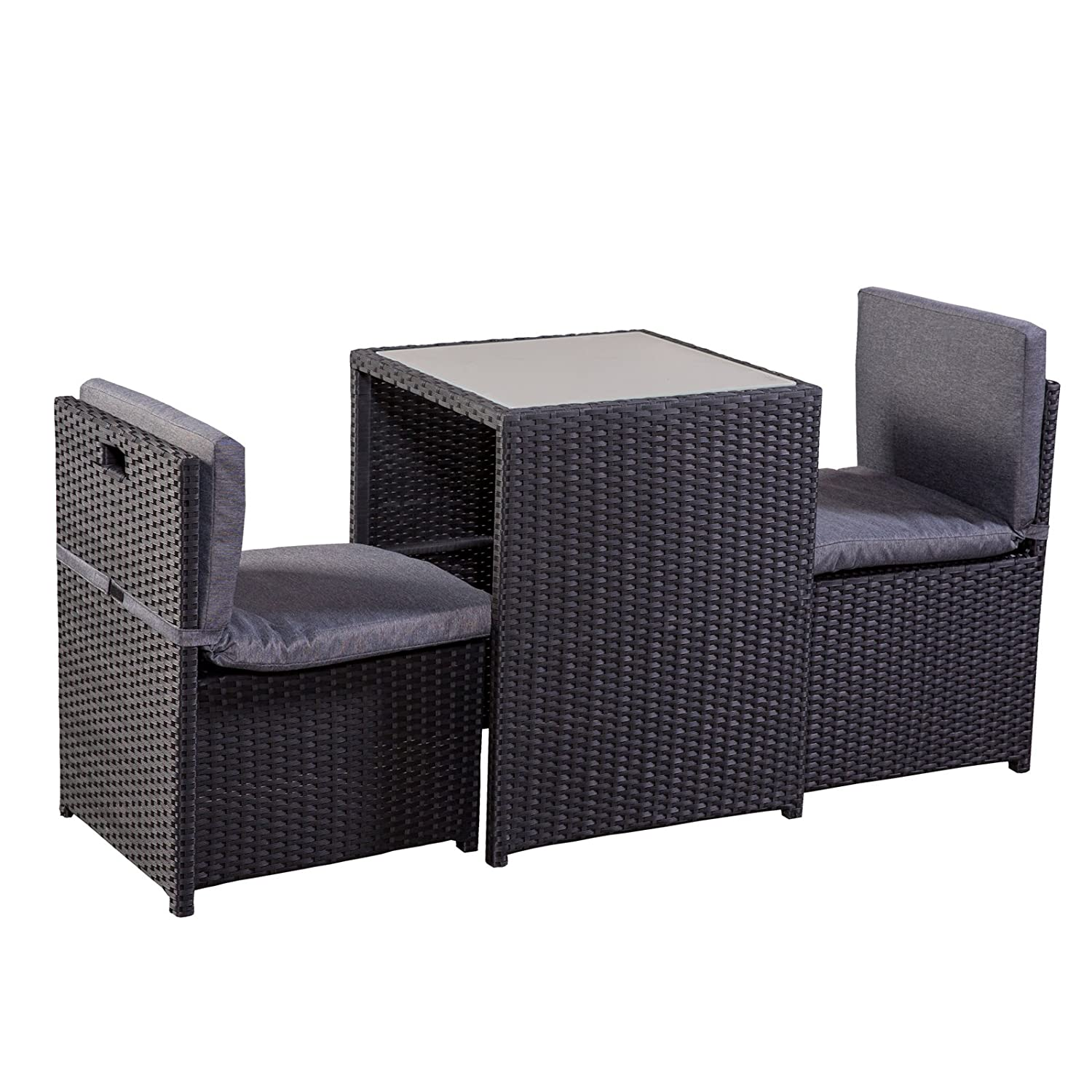 balkonm bel set balkonset terrassenm bel platzsparend box stahl pe rattan schwarz grau g nstig. Black Bedroom Furniture Sets. Home Design Ideas