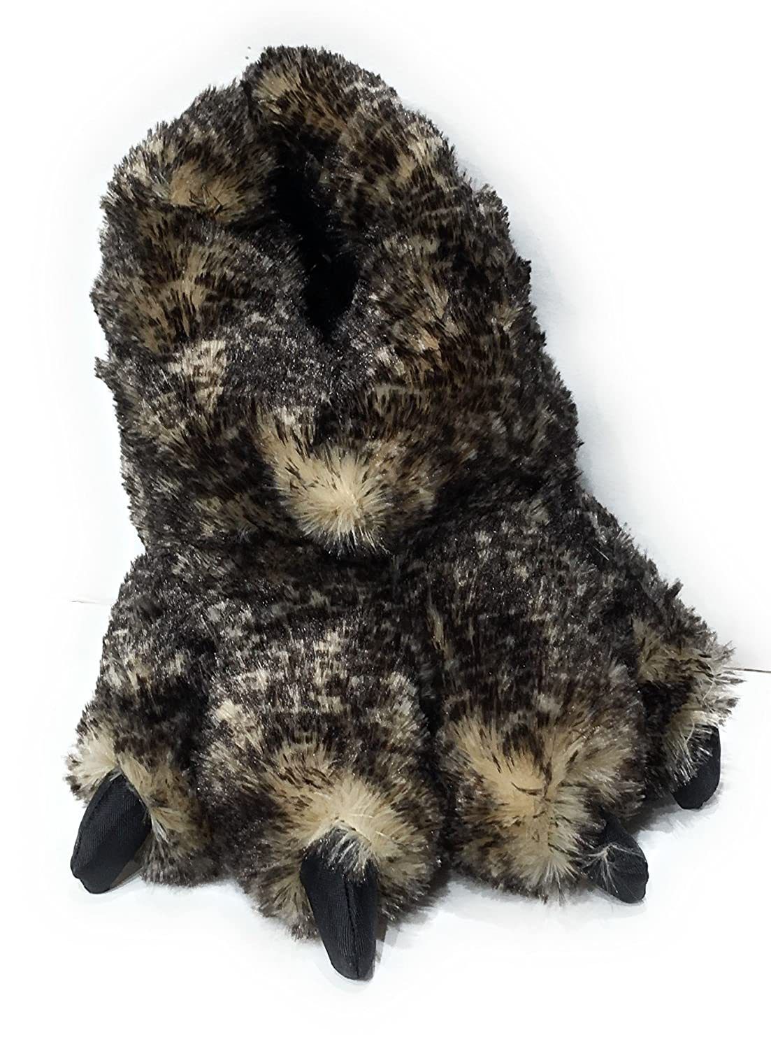 Brown Coyote Sundial Wild Ones Furry Animal Claw Slippers for Toddlers, Kids and Adults