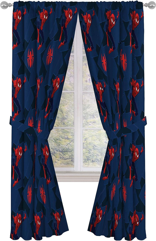 "Jay Franco Marvel Spiderman Classic Saving The Day 84"" Decorative Curtain/Drapes 4 Piece Set (2 Panels, 2 Tiebacks)"
