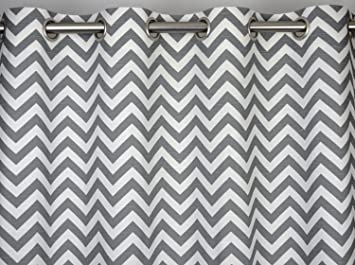 Ash Grey and White Chevron Zig Zag Drape with Blackout Lining, One ...