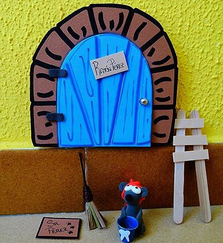 La puerta mágica del ratoncito Pérez personalizable. Incluye ratoncito, escalera y alfombra.: Amazon.es: Handmade