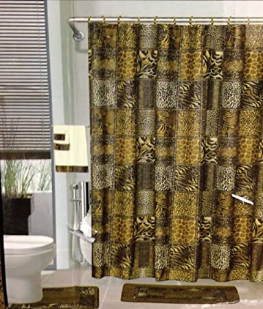 18pcs Bath Rug Set LEOPARD BROWN Bathroom Shower Curtain Mat Rings Towel