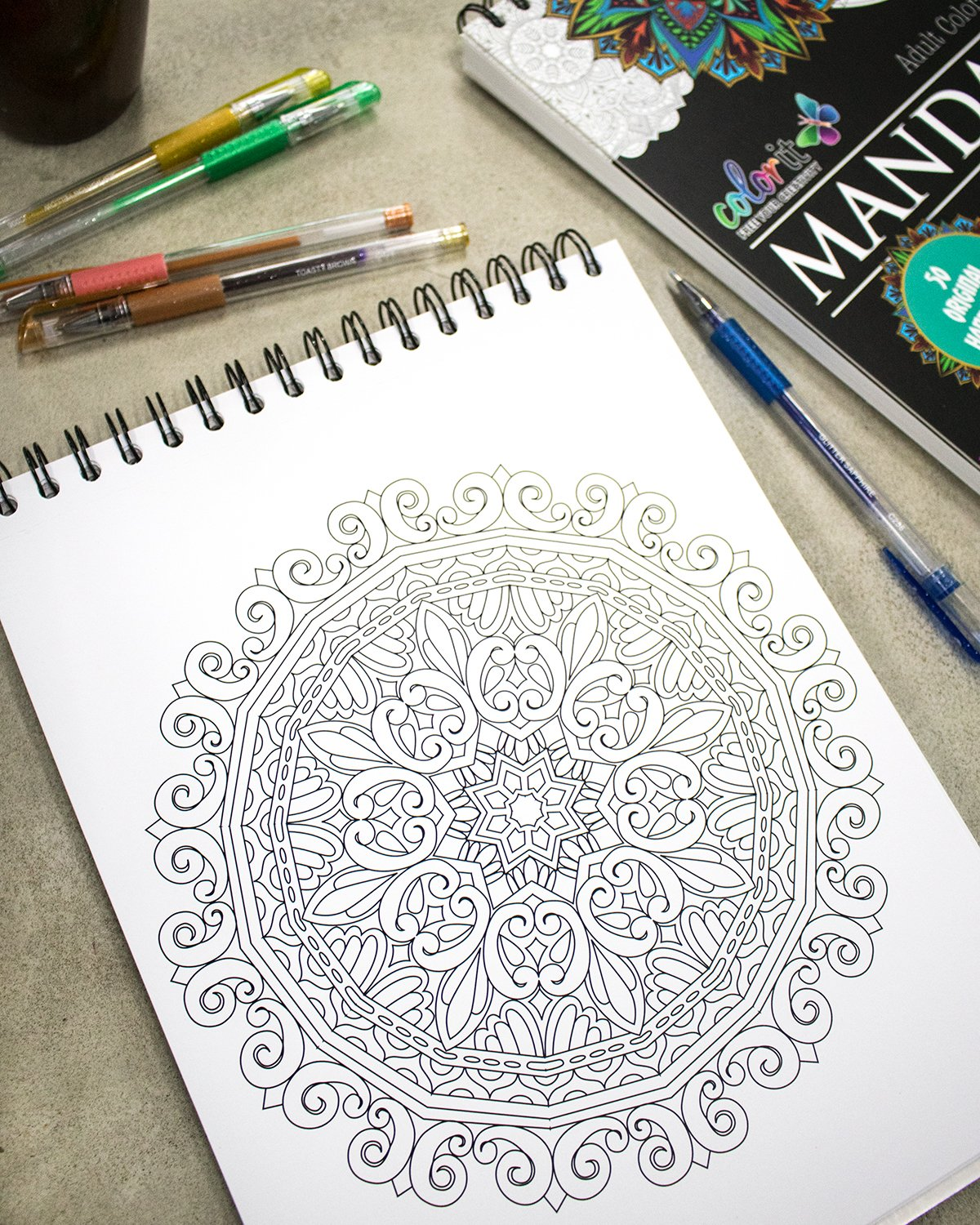 Mandala Coloring Book For Adults With Thick Artist Quality Paper, Hardback  Covers, and Spiral Binding by ColorIt: ColorIt, Terbit Basuki:  9780996511216: ...