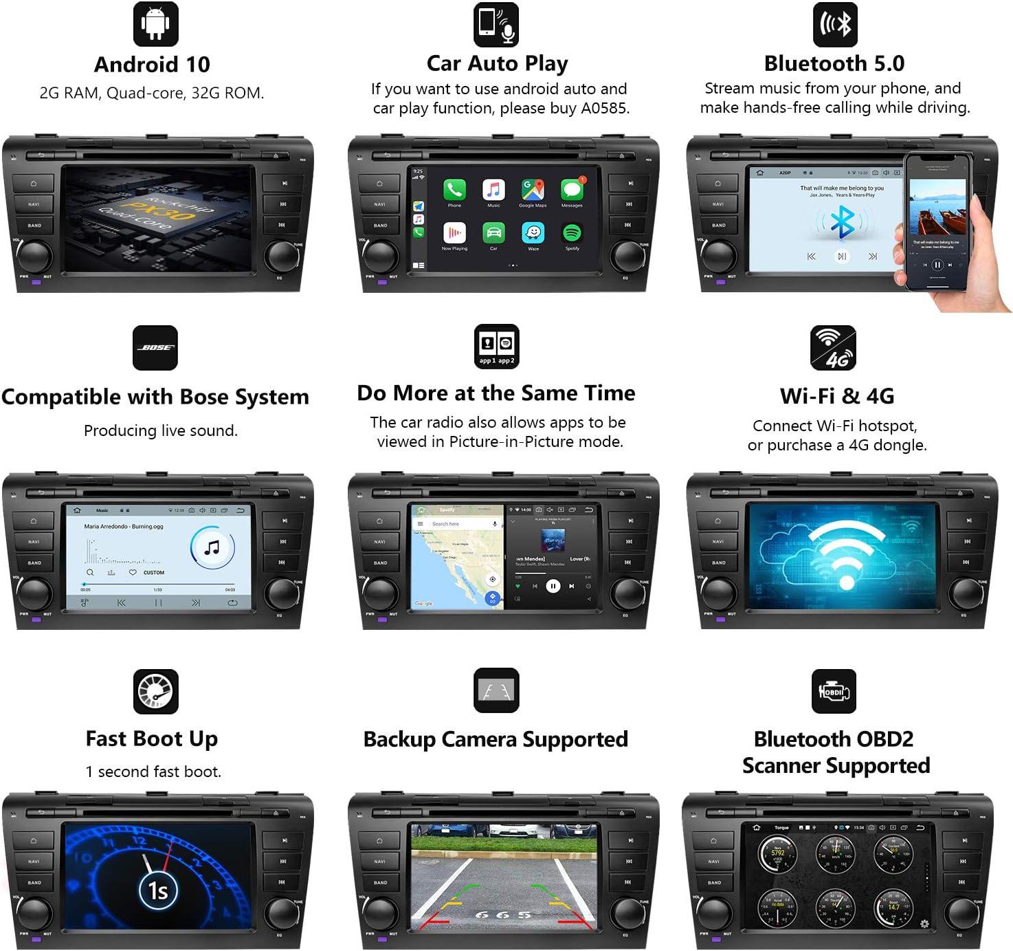 Eonon Head Unit Car GPS Navigation Applicable to Mazda 3 2004-2009 ...