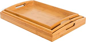 BirdRock Home 3 pc Breakfast Bed Tray (Rounded) - Bamboo - Cut Out Handles - Set of 3 - Bamboo - Nesting
