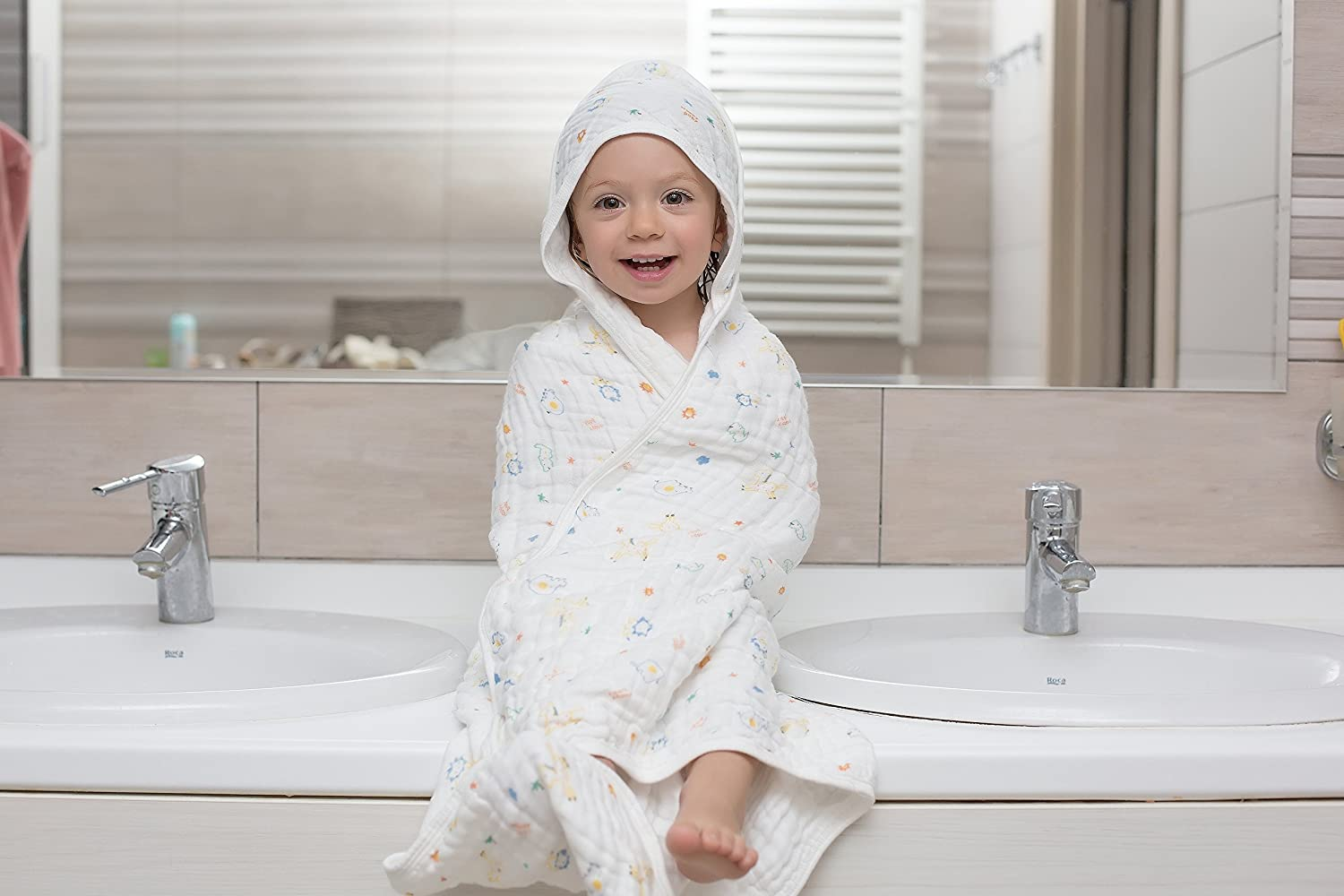 Baby Bath Set Muslin Hooded Towel with Belt and 2 Washcloths Extra Soft & Large Towel 33,5x33,5 inch (85x85 cm) 6 Layer Gauze 100% Organic Antibacterial Cotton