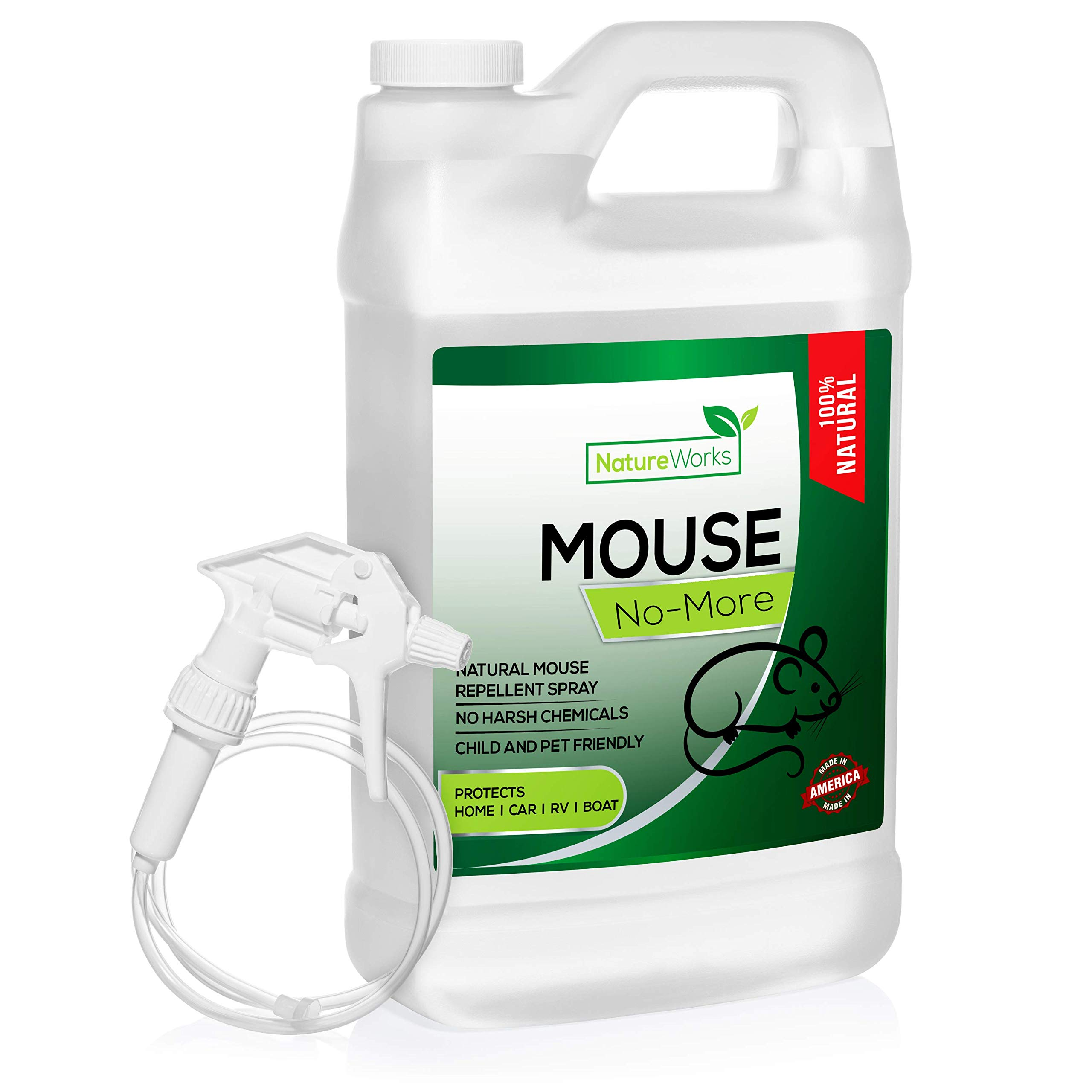 Mouse No-More I Mice Repellent Spray I Mouse Rat Squirrel & Rodent Defense I Vehicle Protection Car RV & Boat I Indoor & Outdoor I Peppermint Oil | Trap & Poison Alternative | Natural Non-Toxic | by NatureWorks