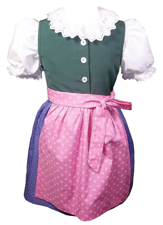 Schrammel Kinderdirndl Kindertrachten 100% Baumwolle Gr 110-116 Rosa-Lila-Grü n) atterseezold-110-098