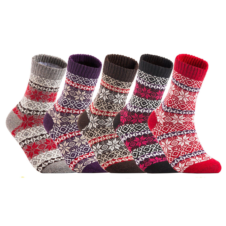Lian LifeStyle Women's 5 Pairs Pack Fashion Plaid-Maple Leaf Wool Socks