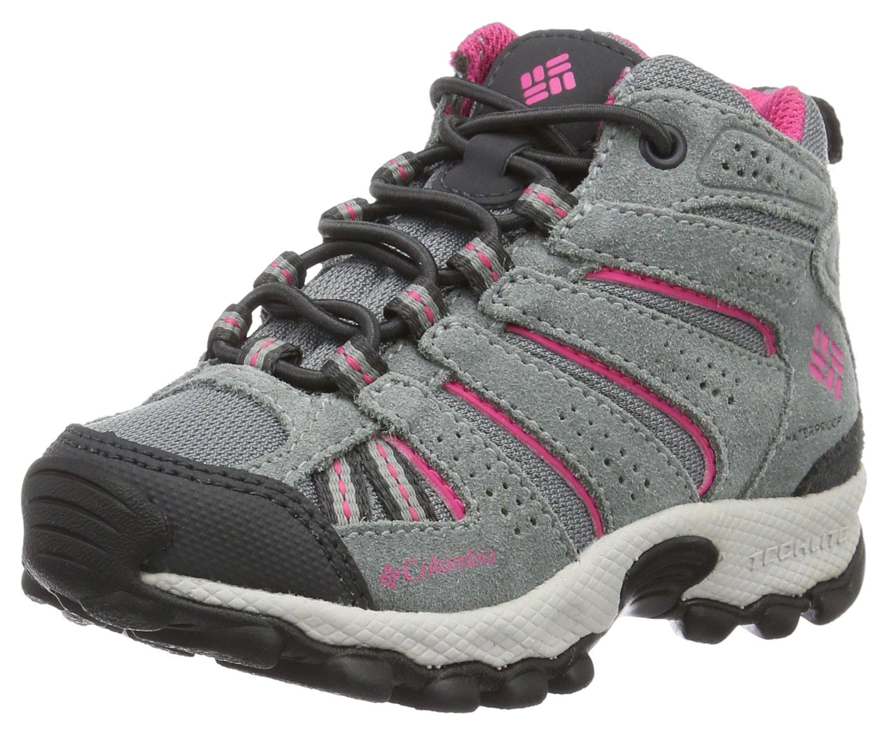 Columbia Kids' Childrens North Plains Mid Waterproof Hiking Boot, Grey Ash/Ultra Pink, 10 M US Little Kid