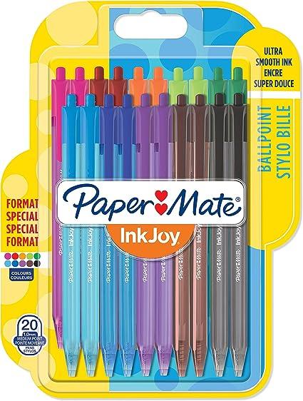 Paper Mate InkJoy 100RT, bolígrafo retráctil, punta media de 1 mm, Pack de 20, colores surtidos: Amazon.es: Oficina y papelería