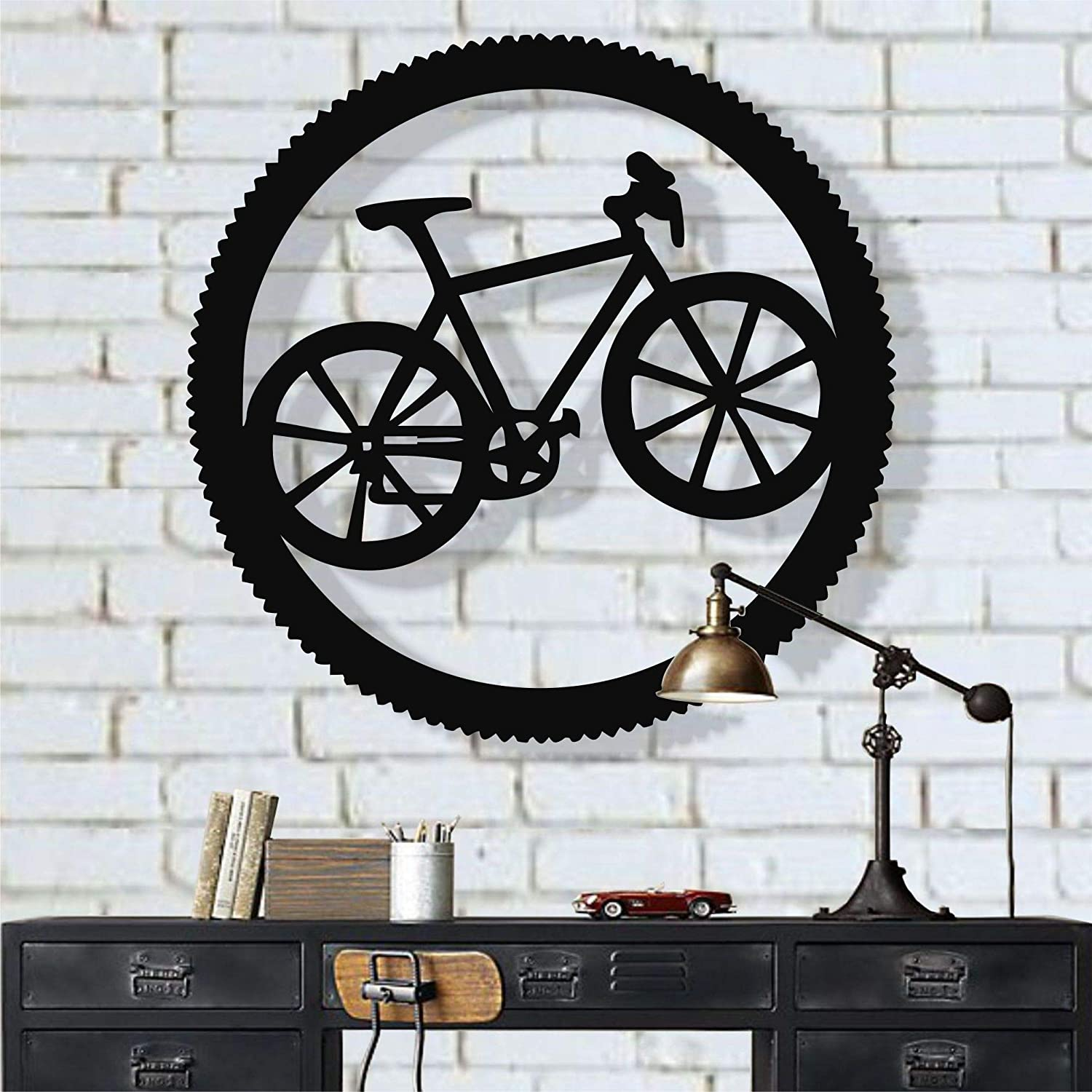 "Metal Bike Wall Art, Cyclist Gift, Biker Art, Bicycle Wall Art, Metal Wall Decor, Home Office Decoration, Bedroom Living Room Decor, Housewarming Gift (18""W x 18""H / 45x45 cm)"