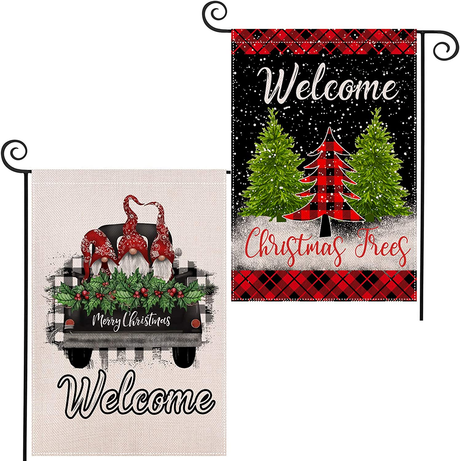 EKOREST 2Pack Christmas Garden Flag for Outdoor 12.5x18Inch Gnome Truck Decorations Double Sided and Buffalo Plaid Christmas Decorations Marry Christmas Yard Sign Xmas Decor for Winter Farmhouse Patio