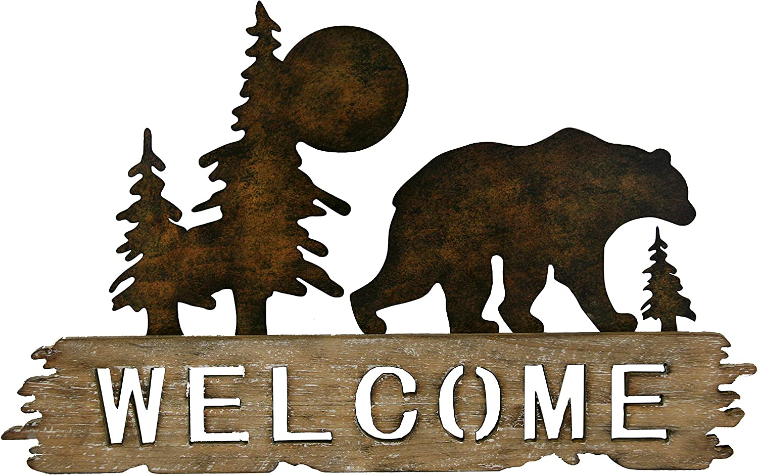 Carina's Collection Cut-Out Welcome Rustic Bear Metal and Wood Wall Décor