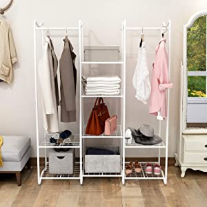 BOFENG Double Rod Free Standing Closet Organizer, Heavy Duty Clothe Closet Storage with Shelves Freestanding Hanger Bedroom, White
