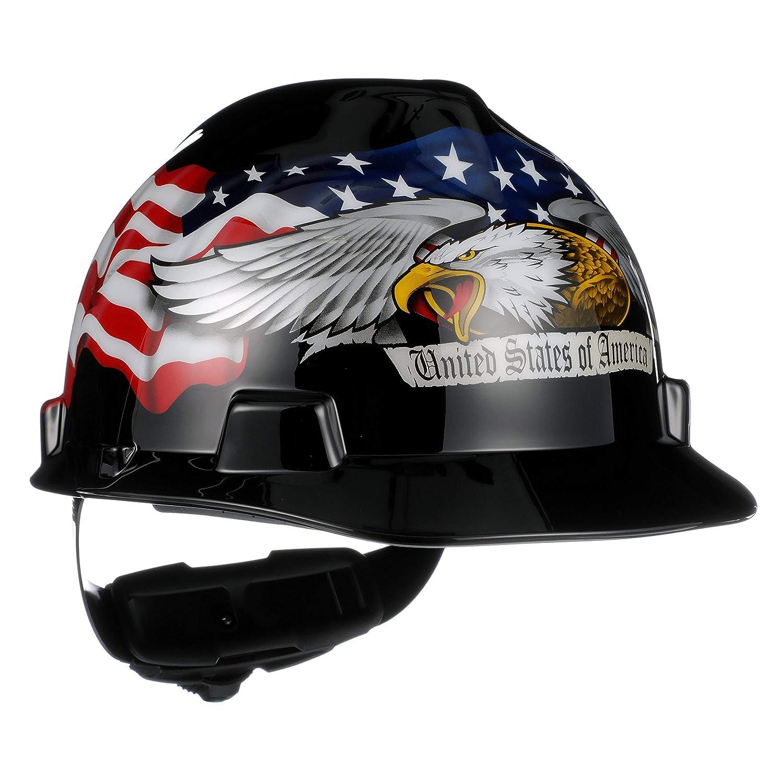 MSA 10079479 V-Gard Hard Hat Front Brim with Ratchet Suspension, Standard, American Eagle