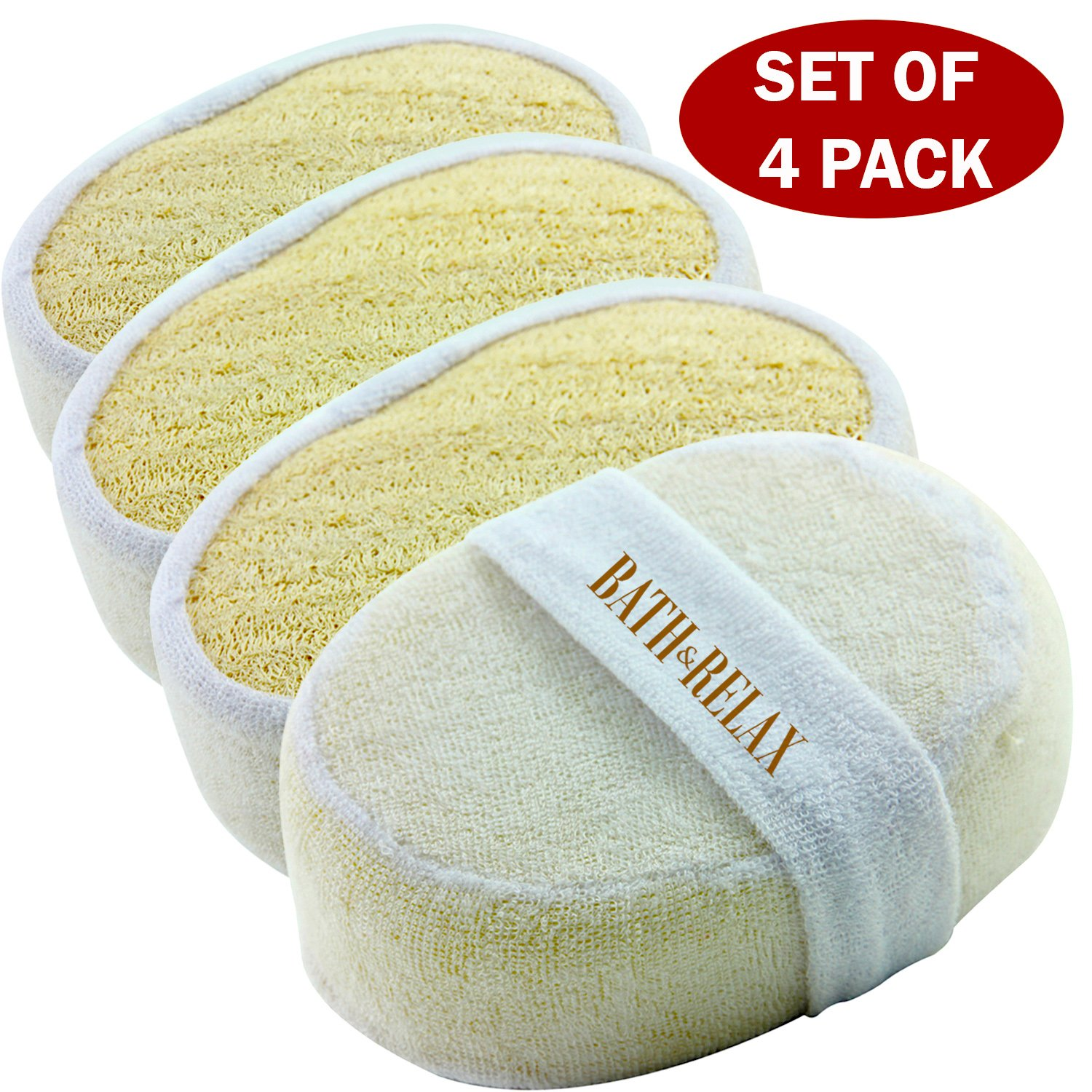 Exfoliating Loofah Bath Sponge Pads Pack Of 4 - Ultra Thick, Great For Exfoliating Shower - 100% Natural - Best Luffa Sponge And Spa Scrubber For Men And Women - Body wash sponge Good Deal Enterprise