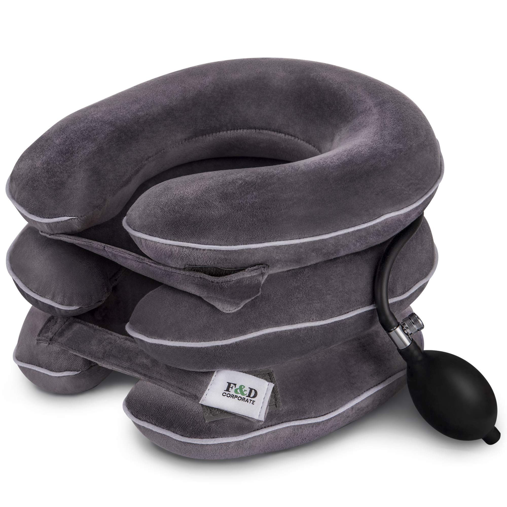 Best Cervical Neck Traction Device - Neck Stretcher - Cervical Collar for Decompression - Neck Pain Relief Devices - Inflatable Neck Brace Pillow Gray by F&D