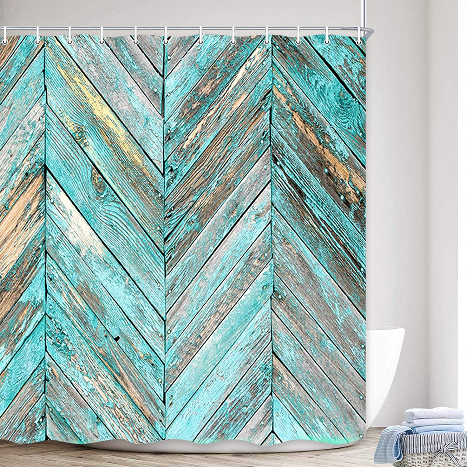 MERCHR Rustic Shower Curtain, Vintage Teal Grey Striped Wooden Plank for Bathroom Decor, Farmhouse Wood Waterproof Polyester Fabric Western Country Barn Door for Rural Life Bath Curtain,69X70in