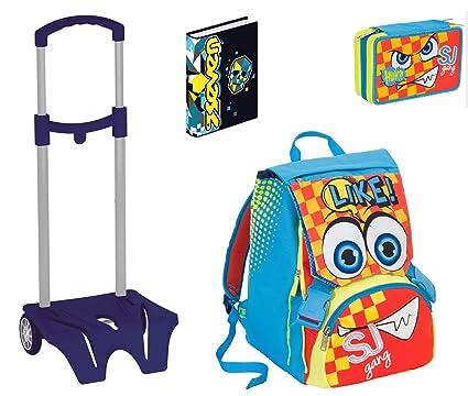 Juego completo escolar SJ GANG con diseño de emoticonos para niño: mochila + estuche + agenda ...