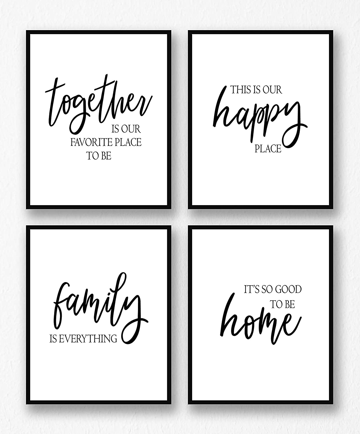 Farmhouse Wall Decor Art Prints Set - 4 UNFRAMED 8 x 10 - Gallery Wall Living Room Family Room Kitchen Dining Room for Home, Fall Autumn Decor - Together is Our Favorite Place