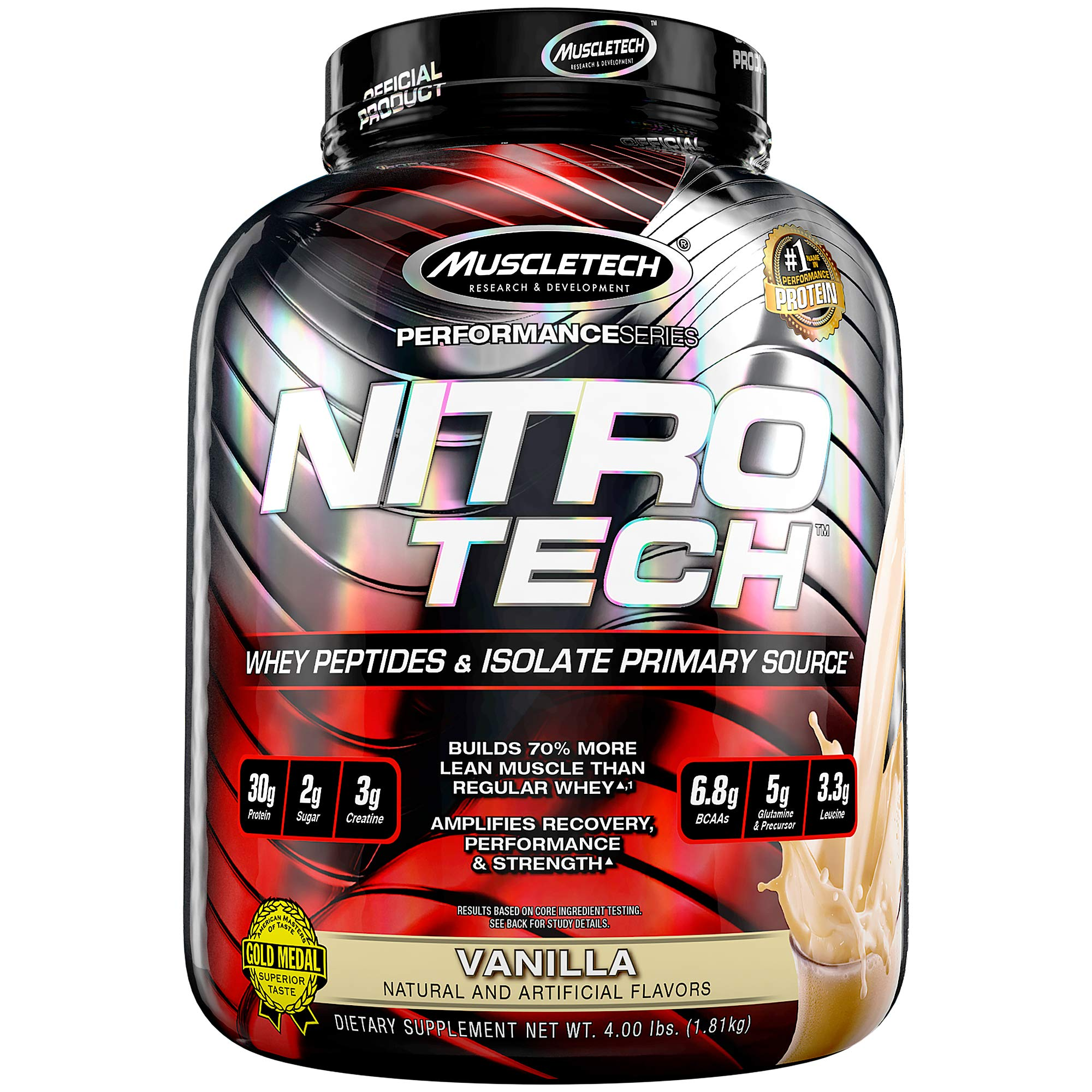 Whey Protein Powder   MuscleTech Nitro-Tech Whey Protein Isolate & Peptides   Lean Protein Powder for Muscle Gain   Muscle Builder for Men & Women   Sports Nutrition   Vanilla, 4 lb (40 Servings)