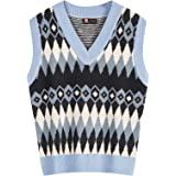 KANCY KOLE Women's Argyle Plaid Knitted Sweater Vest Sleeveless Color Block Cable Pullovers Casual Tank Tops Knitwear S-XXL