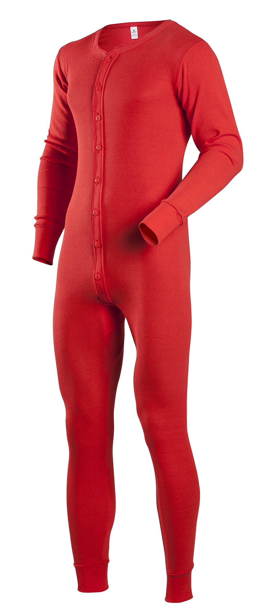 Indera Men's Tall Cotton 1 x 1 Rib Union Suit, Red, Medium