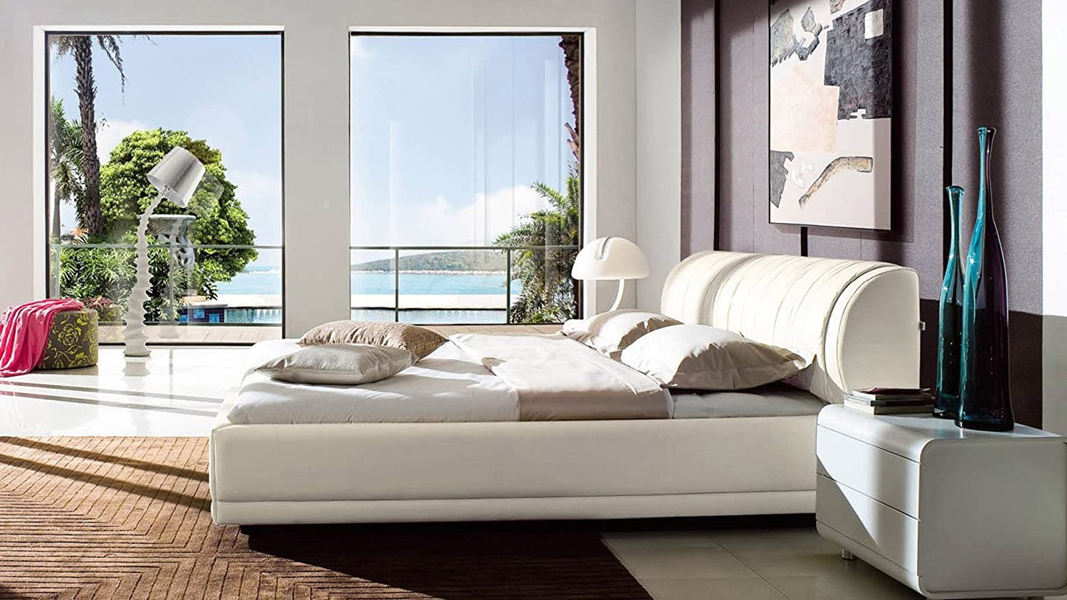 amazoncom morocco white leather platform bed with storage queen kitchen u0026 dining