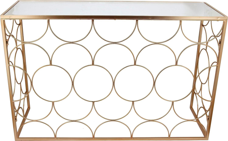MONTEMAGGI - Consola de Hierro Dorado Envejecido con Superficie de Espejo 120 x 40 x 78 cm