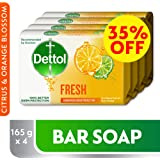 Dettol Fresh Anti-Bacterial Bar Soap 165gm Pack of 4 at 35% Off