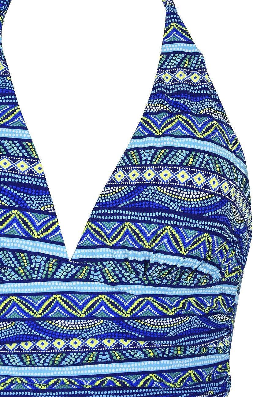 Mycoco Womens Halter Swim Top V Neck Swimwear Front Shirred Tankini Top