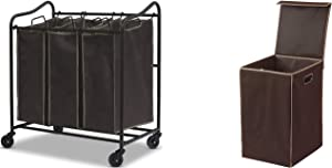 Simple Houseware Heavy Duty 3-Bag Laundry Sorter Rolling Cart + Foldable Laundry Hamper Basket with Lid, Brown