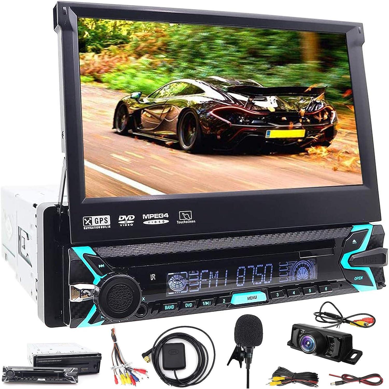 Reproductor multimedia para coche, Bluetooth, GPS, 1 DIN, audio estéreo, receptor de radio FM, reproductor de mp3, entrada auxiliar, puerto USB, ...