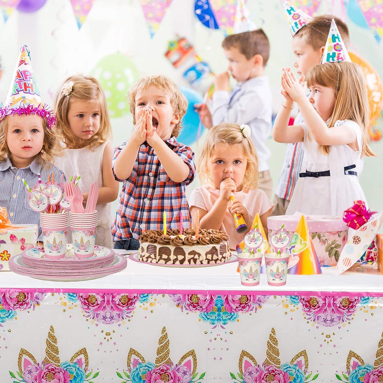 MaoXinTek Unicornio Vajilla Accesorio de Decoraci/ón de Fiesta de Cumplea/ños para 16 Personas Rosa Plato desechable para Ni/ños Chicas Fiesta de Cumplea/ños Baby Shower Boda 113 Piezas