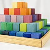 Grimm's Large Stepped Pyramid of Wooden Building Blocks, 100 Piece Learning Set (4x4 Size)