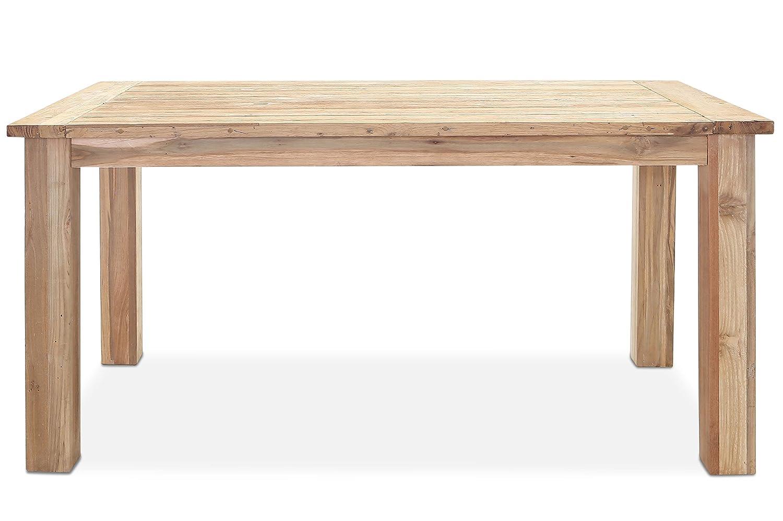 OUTFLEXX stilvoller Esstisch aus hochwertigem, recyceltem Teakholz, massives Holzgestell, 180 x 90 x 77 cm, Gartentisch, Esstisch, Holztisch für bis zu 6 Personen, pflegeleicht und wetterfest