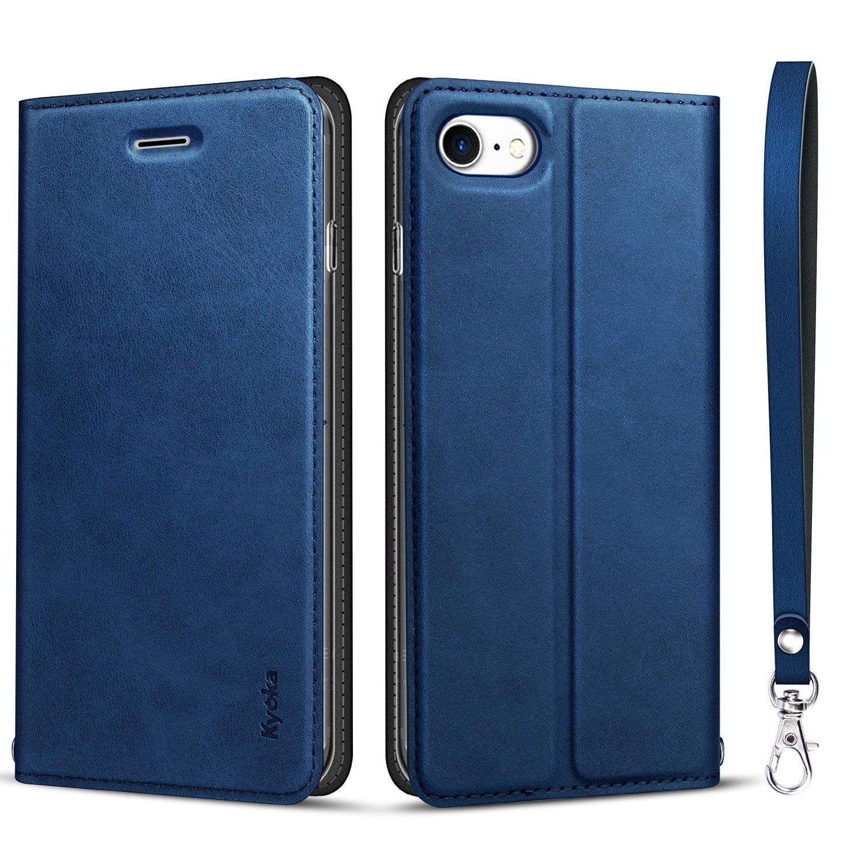 iphone8 ケース iphone7ケース 手帳型 [カード収納 スタンド機能] 衝撃吸収 マグネット式 アイフォン8/7ケース スマホケース 全面保護カバー (iPhone7/8, ネイビ)