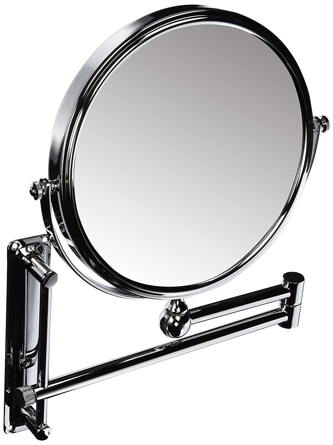 DANIELLE ADJUSTABLE HEIGHT, 2-SIDED WALL MOUNT EXTENDABLE MAKEUP MIRROR, 10X MAGNIFICATION, CHROME